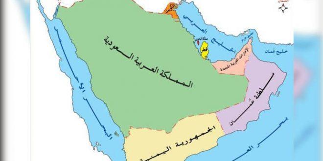خريطة حدود شبه الجزيرة العربية